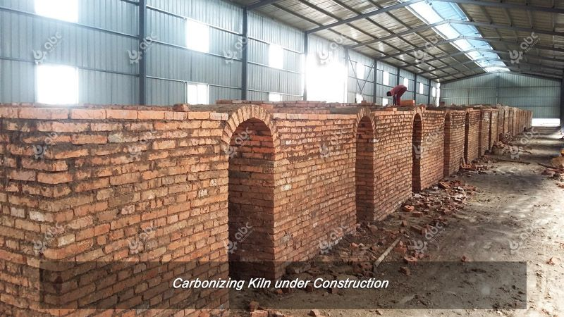 charcoal briquettes carbonizing kiln construction