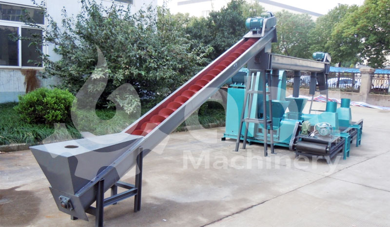 conveying and briquetting machine for small production