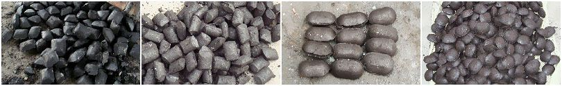 extruded coal briquettes with square, round, oval pillow shape