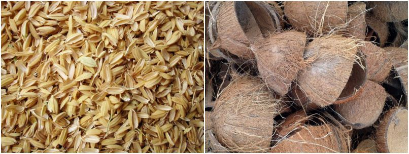 rice chaff coconut shell briquetting process